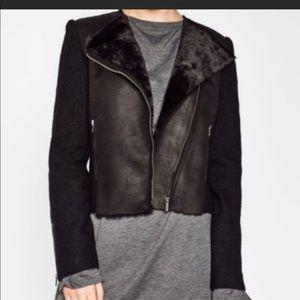 Zara Suede and Shearling Moto Jacket